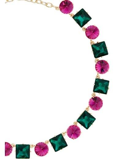Ninon Ninon Anna Fuchsia & Emerald Crystal Necklace Pembe